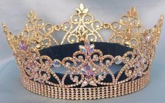 Northern Lights Imperial AB Gold Full Crown - Crown Designers - Rhinestone Crowns, Tiaras & Scepters