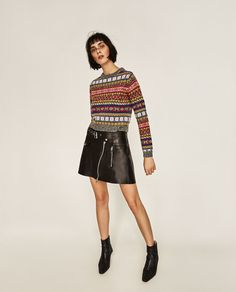 Image 1 of CROPPED JACQUARD SWEATER from Zara