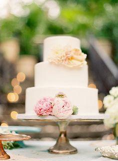 Peony Floral Wedding Cake   Photo: Jose Villa