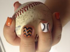 Simple SF Giants color baseball nails by Jamie at Nailville Fresno