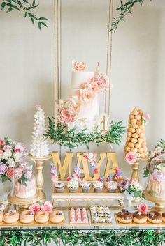 A Darling Dessert Display for a Birthday with gorgeous captures by L'Estelle Photography, florals by Bootah Jardin Flowers and Desserts by Hello Sunshine Cake Studio Dessert Party, Party Desserts, Dessert Tables, Party Sweets, Birthday Desserts, Dessert Ideas, Vintage First Birthday, Girl First Birthday, Birthday Month