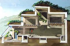 malcolm wells earthen architecture bermed house - cross section illustration