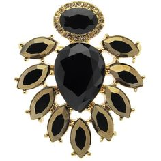 Monet Teardrop Brooch, Gold/Black ($60) ❤ liked on Polyvore featuring jewelry, brooches, black brooch, gold brooch, tear drop jewelry, kohl jewelry and monet jewelry