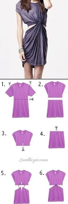 DIY T Shirt Dress diy diy ideas diy idea diy clothes easy diy diy dress diy shirt diy fashion diy shirts diy dresses I dont know about you, but I do not know how to get the pieces of the bottoms to stay in the whole of the top, or if you are suppose to do this with a long shirt, normal shirt, or dress.