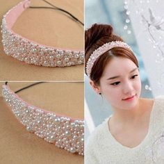 Jeweled Headband, Pearl Headband, Hair Accessories For Women, Bridal Hair Accessories, Headband Hairstyles, Diy Hairstyles, Rose Crafts, Handmade Wire Jewelry, Baby Hair Clips