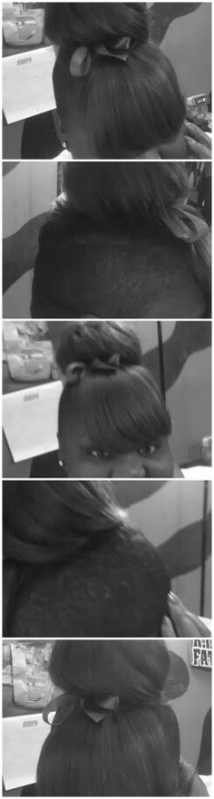 Shaved sides, bangs, Big bun!!