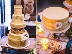 Gilded & monogrammed wedding cakes by Midori Bakery