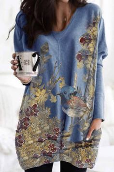 Bird Floral Print Paneled V-neck Casual Long Sleeves Mini Dress - Shopingnova Bird Prints, Floral Prints, Thing 1, Cotton Jumpsuit, Long Sleeve Mini Dress, Woman Painting, Types Of Sleeves, Blouses For Women, Floral Tops