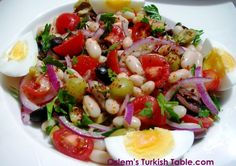 Bean salad with onions, tomatoes, olives and boiled eggs - Fasulye piyazl