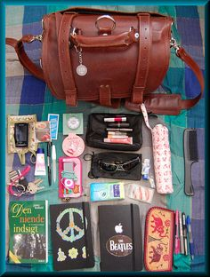 what's in your bag -- LOVE the messenger bag!