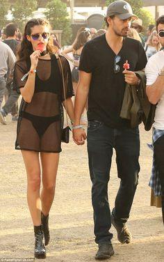 43523560b846 Sara Sampaio flaunts long legs in mesh shirt and bikini at Coachella