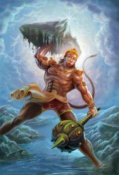 Lord Hanuman, oh yes hindu false god honuman with 8 pack abs, biceps, thies. where did he got those shorts! this is clesr foolish behaviour to worship this monkey. Hanuman Photos, Hanuman Images, Hanuman Chalisa, Durga, Hanuman Tattoo, Hanuman Ji Wallpapers, Meditation France, Into The West, Shiva Shakti