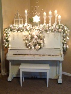 Chalk painted piano dressed for the holidays