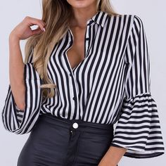 Our 'Jessica Black and White Striped Shirt Bodysuit' is available online and in store This bodysuit is a must and can be styled up or down! White Blouse Outfit, Black And White Blouse, Black White Fashion, White Tops, Sew Your Own Clothes, Body Suit Outfits, Shirt Blouses, Shirt Style, Jessica Black