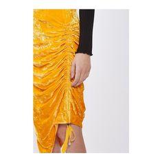 Velvet Ruched Skirt by Boutique (£90) ❤ liked on Polyvore featuring skirts, orange, velvet skirt, orange skirt, gathered skirt, ruched skirt and shirred skirt