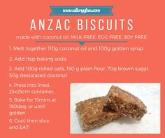 Simple, allergy free and delicious! Anzac Biscuits, Golden Syrup, Rolled Oats, Allergy Free, Egg Free, Food Allergies, Brown Sugar, Baking Soda, Coconut Oil