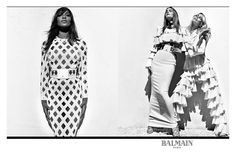 Balmain's creative director Olivier Rousteing tends to cast models of the moment, but for SS16 he went old school. Iconic 90s supermodels Cindy Crawford, Naomi Campbell and Claudia Schiffer front the black and white campaign shot by Steven Klein.