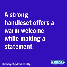 Handlesets do more than just welcome people in - they increase curb appeal and make an unforgettable statement about your home. Schlage Locks, Curb Appeal, Shake, Fun Stuff, Giveaway, Favorite Things, Names, People, Ideas
