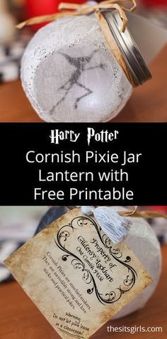 Cornish Pixie Jar Lantern, inspired by the pixies from Harry Potter and the Wizarding World. Includes video tutorial and free printable. | Fairy Lantern | Pixie Light