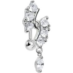 Clear Gem Hearts and Dangling Drop Top Mount Belly Ring