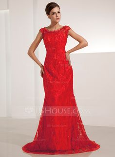 Evening Dresses - $149.99 - Mermaid Scoop Neck Court Train Lace Evening Dress With Beading Sequins (017014206) http://jjshouse.com/Mermaid-Scoop-Neck-Court-Train-Lace-Evening-Dress-With-Beading-Sequins-017014206-g14206