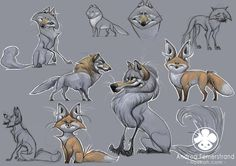 Character desings: foxes and wolves by *Noukah on deviantART