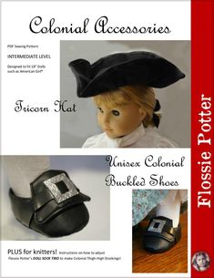 Pixie Faire Flossie Potter Colonial Accessories Doll Clothes Pattern Designed to Fit Dolls such as American Girl® - PDF Boy Doll, Girl Doll Clothes, Girl Dolls, Doll Shoe Patterns, Clothing Patterns, Pixie, Ag Dolls, Doll Shoes, 18 Inch Doll