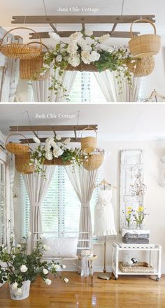 Shabby Chic Ladder With Baskets Overhead.
