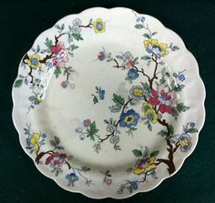 """ANTIQUE BOOTHS CHINESE TREE LUNCHEON PLATE 8 1/2"""" (MOD. CRAZING & STAINING)"""