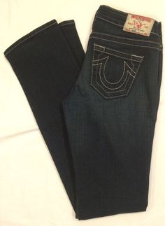 True Religion Johnny dark distressed denim straight jeans 10-572TS  SZ 26 L35 #TrueReligion #StraightLeg