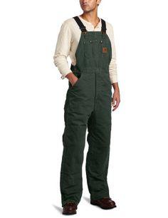 Carhartt Men's Quilt Lined Sandstone Bib Overalls,Moss,48 x 32