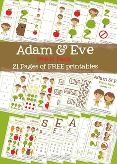 Adam & Eve Pre-K Pack (Free Printables!) 21 pages of free printable Adam and Eve activities for preschoolers for Sunday school or home Preschool Bible Lessons, Bible School Crafts, Bible Lessons For Kids, Bible Activities, Bible For Kids, Preschool Activities, Bible Crafts, Sabbath Activities, Bible Resources