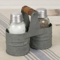 "Salt & Pepper Can Caddy Vintage inspired, perfect for a country farmhouse kitchen 4½""W x 2¼""D x 4""T. Includes Mason jar salt and pepper shakers. Please wash the shakers before using."