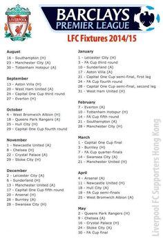 Liverpool FC's Premier League fixtures for 2014/15