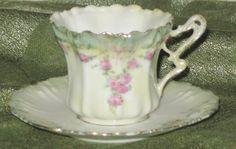 RS Prussia Tea Cup Saucer Antique German Ruffled Demitasse Pink Rose Garlands