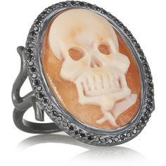 Amedeo Oxidized-silver, cornelian shell and diamond skull cameo ring ($3,970) ❤ liked on Polyvore