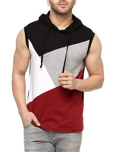 Colour: Black/Maroon Material : Good quality of cotton Neck type : Round neck Print : Solid Outfits Casual, Stylish Mens Outfits, Mode Outfits, Men Casual, Teenage Boy Fashion, Camisa Polo, Sleeveless Hoodie, Tee Shirt Designs, Mens Clothing Styles