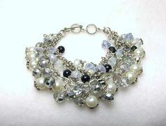 Swarovski Shine - Jewelry creation by Linda Foust Link Bracelets, Jewelry Bracelets, Bead Caps, Black Glass, Beaded Flowers, Pearl Jewelry, Beautiful Flowers, Swarovski, Jewelry Making
