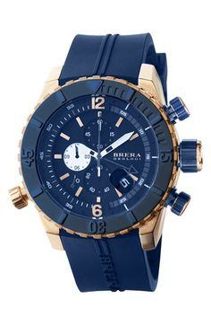 Free shipping and returns on Brera 'Sottomarino' Chronograph Diver Watch, 48mm at Nordstrom.com. A sporty Italian-made watch built to handle undersea adventures looks great on land with a brushed case, raised unidirectional rotating bezel and thick silicone strap.