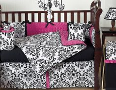 Gorgeous!  Black & White Damask Crib Bedding with Hot Pink Accents - Find this and more Designer Baby Crib Bedding @ bedtimebaby.com