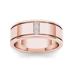 De Couer 14k Rose Gold 1/2ct TDW Diamond Men's Classic Wedding Band (H-I, I2) (Size-11), Size: 11, Pink