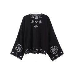 Boho Floral Embroidered Women Kimono Cardigan Long Sleeve Blouses ...