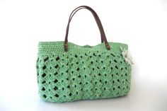 Green summer Handbag Shoulder bag with Genuine by Sudrishta
