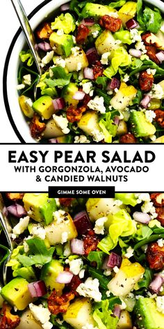 favorite pear salad recipe -- made with ripe pears arugula avocado gorgonzola blue cheese candied walnuts (or pecans) and a simple Dijon vinaigrette. Feel free to add crumbled bacon too if you would like! Large Salad Bowl, Salad Bowls, Soup And Salad, Pasta Salad, Quinoa Salad, Shrimp Salad, Chicken Salad, Tortellini Salad, Tuna Pasta