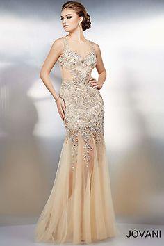 Nude Sleeveless Long Lace Dress 98991