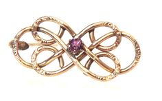 Antique Amethyst Celtic Gold Filled Brooch Pin by EclairJewelry