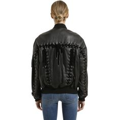 Gvgv Women Lace-up Leather Bomber Jacket (2 404 AUD) ❤ liked on Polyvore featuring outerwear, jackets, black, genuine leather bomber jacket, blouson jacket, bomber jackets, real leather jackets and lace up bomber jacket