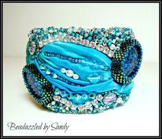 Blue on Blue: A Bead Embroidered Bracelet от beadazzledbysandy
