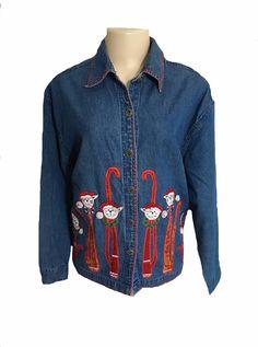 Vintage Dressbarn Blue Denim Christmas Cats Applique Long Sleeve Blouse Size 1x | eBay