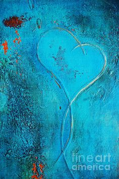 blue heart abstract painting by anahi decanio